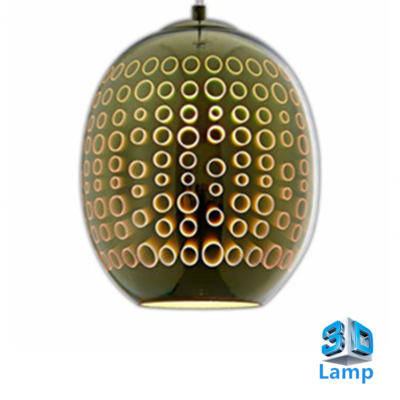 3D LED Hanglamp - Chroom Glas - Cirkel - Ovaal  E27 * Ø220x275mm