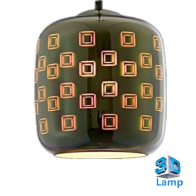 3D LED Hanglamp - Chroom Glas - vierkant - Cilinder - E27 * Ø200xH213mm