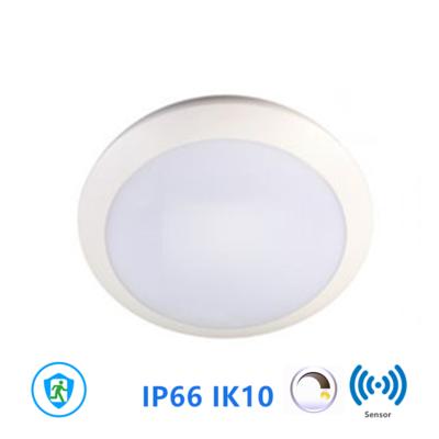 Led plafonnière 16W Ø300mm IP66 IK10 met sensor en noodunit 3000k warmwit *Dimbaarsensor