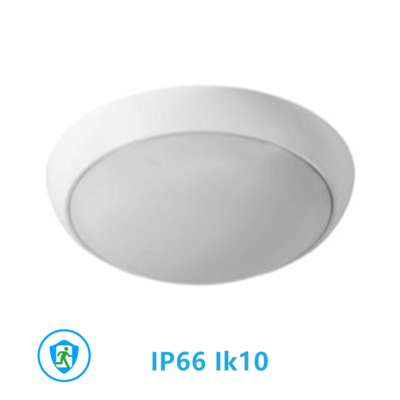 Led plafonnière 18W Ø330mm IP66 IK10 3000k/warmwitincl. noodunit
