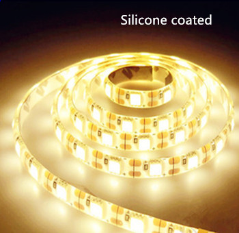 Silicone LED strip 24v  SMD 5050 60 LEDs/m 2700k/warmwit 5 meter rol