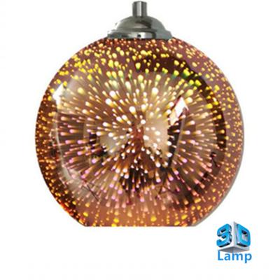 3D LED Hanglamp – Bronze Glas - Vuurwerk - Rond - E27 * Ø300x275mm