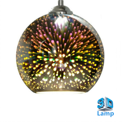 3D LED Hanglamp – Chroom Glas - Vuurwerk - Rond - E27 * Ø180xH160mm